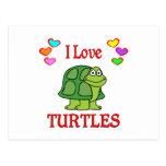 Amo tortugas tarjeta postal
