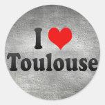 Amo Toulouse, Francia Pegatinas Redondas
