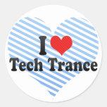 Amo trance de la tecnología etiqueta redonda