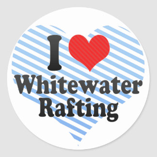 Amo transportar en balsa de Whitewater Etiqueta Redonda
