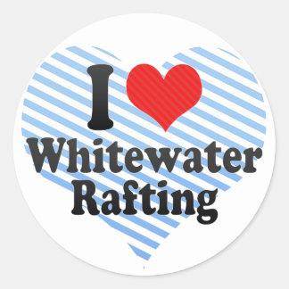 Amo transportar en balsa de Whitewater Pegatina Redonda