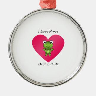 Amo trato de las ranas con él ornamento para arbol de navidad