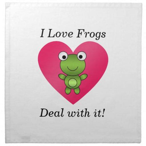 Amo trato de las ranas con él servilleta