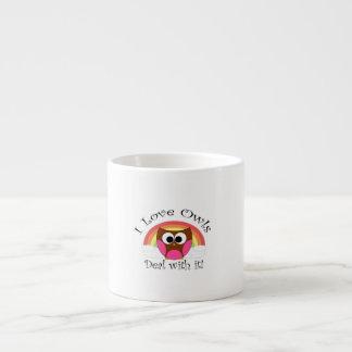 Amo trato de los búhos con él taza espresso