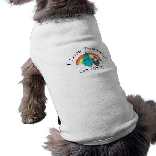 Amo trato de los pavos reales con él camisas de perritos