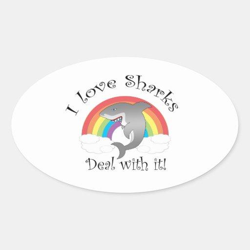 ¡Amo trato de los tiburones con él! Pegatina Ovalada