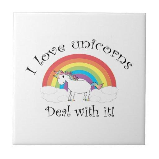 ¡Amo trato de los unicornios con él! Azulejo