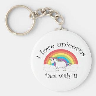 ¡Amo trato de los unicornios con él Llaveros Personalizados