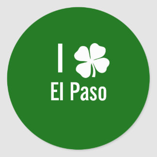 Amo (trébol) día del St Patricks de El Paso Pegatina Redonda