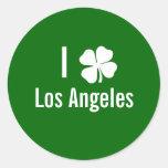 Amo (trébol) día del St Patricks de Los Ángeles Pegatinas Redondas