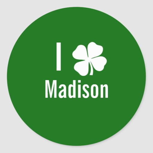 Amo (trébol) día del St Patricks de Madison Pegatina Redonda