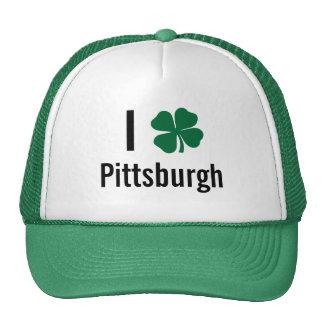 Amo (trébol) día del St Patricks de Pittsburgh Gorro De Camionero