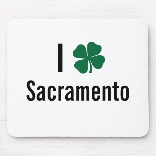 Amo (trébol) día del St Patricks de Sacramento Tapetes De Ratón