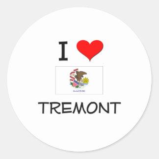 Amo TREMONT Illinois Pegatina Redonda
