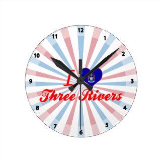 Amo tres ríos, Michigan Relojes De Pared
