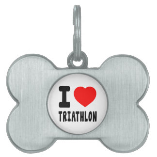 Amo Triathlon Placa De Nombre De Mascota