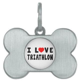 Amo Triathlon Placas De Mascota