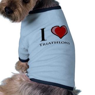 Amo Triathlons Camiseta De Perrito