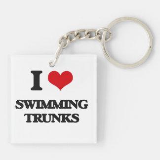 Amo troncos de natación llavero cuadrado acrílico a doble cara