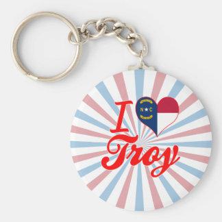 Amo Troy, Carolina del Norte Llaveros Personalizados