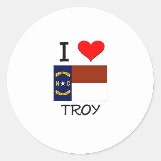 Amo Troy Carolina del Norte Pegatinas