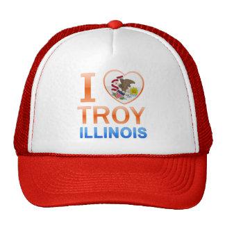 Amo Troy, IL Gorros Bordados