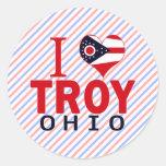 Amo Troy, Ohio Pegatinas Redondas