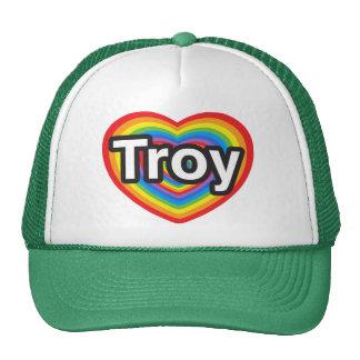 Amo Troy. Te amo Troy. Corazón Gorras