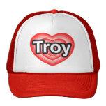 Amo Troy. Te amo Troy. Corazón Gorros
