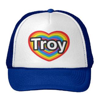 Amo Troy. Te amo Troy. Corazón Gorros Bordados