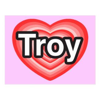 Amo Troy. Te amo Troy. Corazón Tarjeta Postal