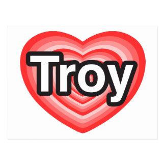 Amo Troy. Te amo Troy. Corazón Postal