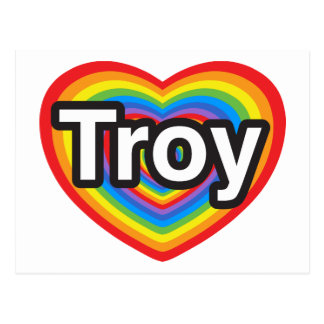Amo Troy. Te amo Troy. Corazón Tarjetas Postales