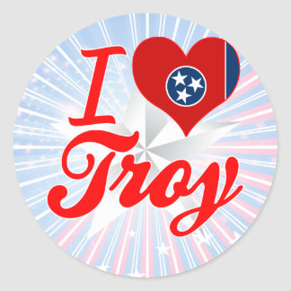 Amo Troy, Tennessee Pegatina Redonda