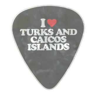 AMO TURKS AND CAICOS ISLANDS PÚA DE GUITARRA CELULOIDE NACARADO