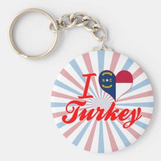 Amo Turquía, Carolina del Norte Llaveros