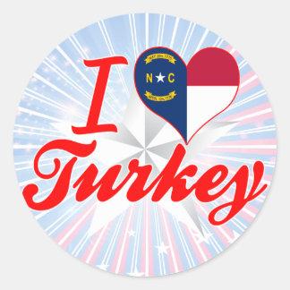 Amo Turquía, Carolina del Norte Pegatina Redonda