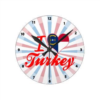 Amo Turquía, Carolina del Norte Relojes De Pared