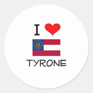 Amo TYRONE Georgia Pegatina Redonda