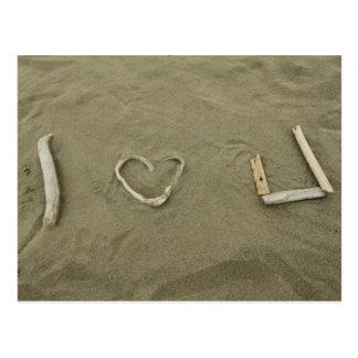 Amo U en la playa Tarjetas Postales