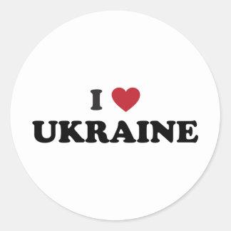 Amo Ucrania Pegatina Redonda