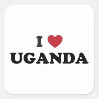 Amo Uganda Calcomanía Cuadradas Personalizada