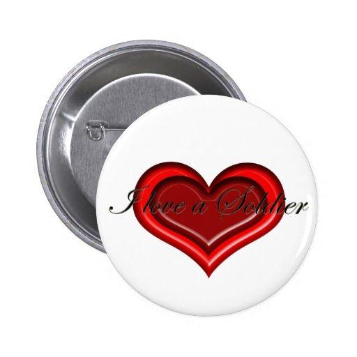 Amo un botón del soldado pins