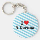 Amo un Coruna, España Llavero Personalizado