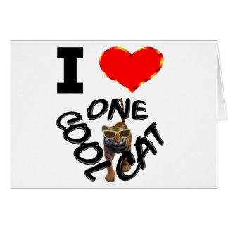 Amo un gato fresco tarjeta de felicitación
