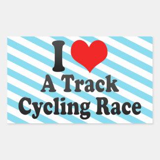 Amo una raza de ciclo de la pista pegatina rectangular
