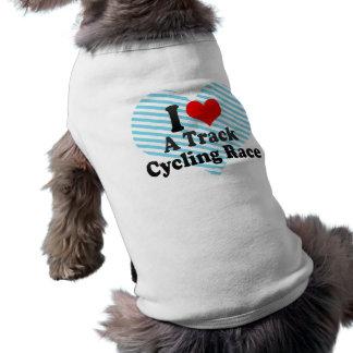 Amo una raza de ciclo de la pista playera sin mangas para perro