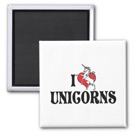 Amo unicornios del corazón imán cuadrado