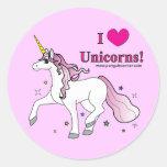 ¡Amo unicornios! Etiqueta Redonda