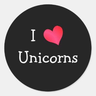 Amo unicornios pegatina redonda